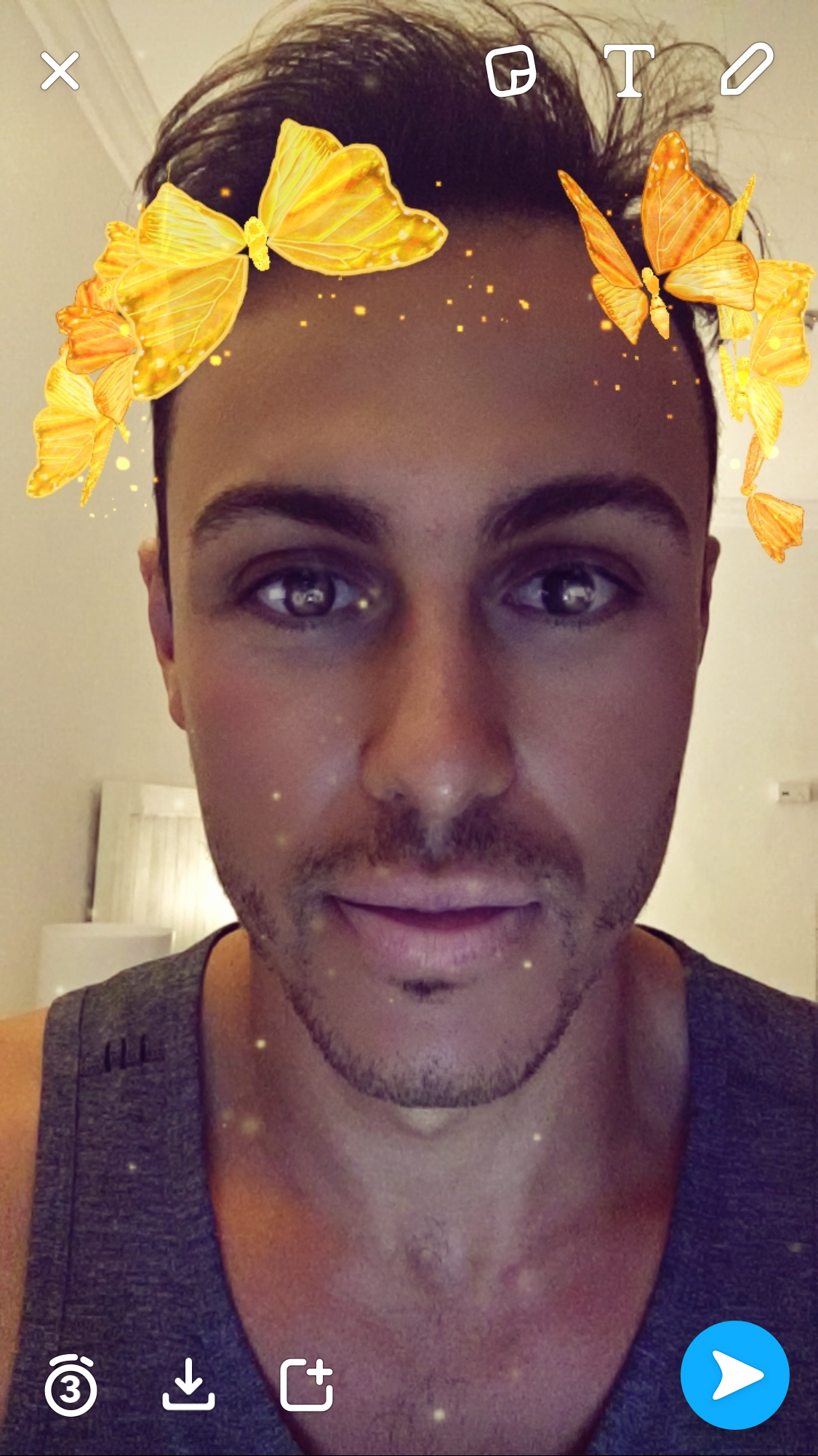 Step 1: Open Snapchat and take a photo / video selfie with your filter of choice (my favourite at the moment is this filter)